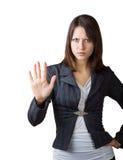 Donna di affari che mostra un arresto di gesto Immagini Stock