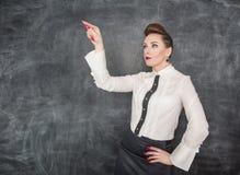 Donna di affari che opera scelta Fotografie Stock