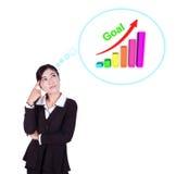 Donna di affari che pensa allo scopo ed al grafico Immagini Stock
