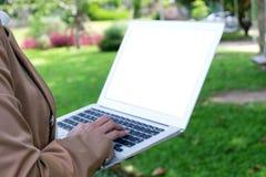 Donna di affari che per mezzo del computer portatile lavora online sul computer portatile che Immagine Stock Libera da Diritti