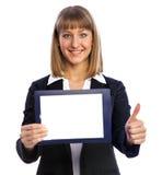 Donna di affari che porta cartella in bianco Immagini Stock Libere da Diritti