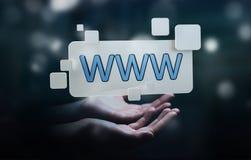 Donna di affari che pratica il surfing su Internet facendo uso della barra degli indirizzi tattile di web Immagine Stock