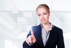 Donna di affari che preme un tasto dello schermo attivabile al tatto Fotografie Stock Libere da Diritti