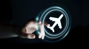 Donna di affari che prenota il suo volo con l'applicazione digitale moderna Immagine Stock