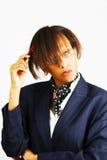 Donna di affari che prepara per l'azione Fotografia Stock Libera da Diritti