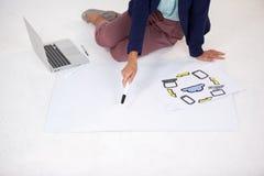 Donna di affari che prepara un grafico con le icone Fotografia Stock