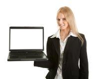 Donna di affari che presenta laptopn Fotografia Stock
