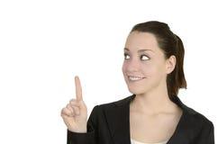 Donna di affari che presenta lo spazio della copia Fotografie Stock Libere da Diritti