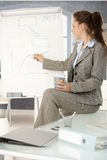Donna di affari che presenta sopra il whiteboard Fotografia Stock