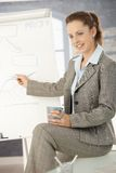 Donna di affari che presenta sopra il whiteboard Fotografia Stock Libera da Diritti