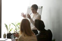 Donna di affari che presenta strategia della società su flipchart Immagini Stock Libere da Diritti
