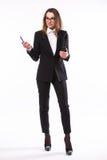 Donna di affari che presenta un copyspace Immagine Stock Libera da Diritti