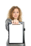 Donna di affari che rappresenta qualcosa fotografie stock