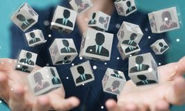 Donna di affari che sceglie candidato per una rappresentazione di lavoro 3D Fotografie Stock Libere da Diritti