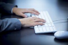 Donna di affari che scrive al computer Immagini Stock
