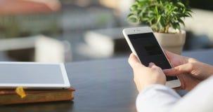 Donna di affari che scrive un messaggio a macchina facendo uso del telefono cellulare al tempo di giorno in ufficio con Backround stock footage