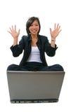 Donna di affari che sembra felice Immagini Stock Libere da Diritti