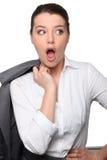 Donna di affari che sembra sorpresa Fotografia Stock