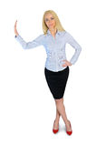 Donna di affari che si appoggia qualcosa Immagini Stock