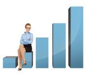 Donna di affari che si siede sul grande grafico 3d Fotografia Stock