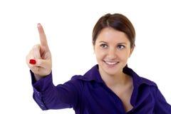 Donna di affari che spinge o che poiting Immagini Stock Libere da Diritti