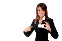 Donna di affari che spinge una scheda che la indica Immagini Stock Libere da Diritti