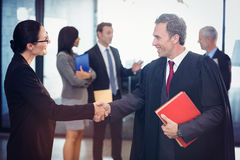 Donna di affari che stringe le mani con l'avvocato Fotografia Stock