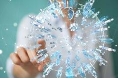 Donna di affari che tiene e che tocca 3D che rende gruppo di pe blu Fotografia Stock