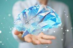 Donna di affari che tiene il cervello umano digitale dei raggi x in sua mano 3D r Fotografie Stock Libere da Diritti