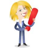 Donna di affari che tiene punto esclamativo illustrazione vettoriale