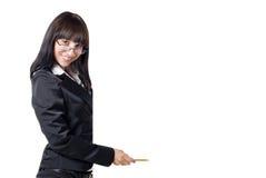 Donna di affari che tiene segno in bianco Immagine Stock Libera da Diritti