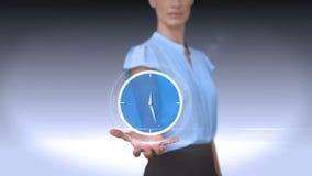Donna di affari che tiene sveglia virtuale illustrazione vettoriale