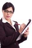 Donna di affari che tiene un archivio Fotografie Stock Libere da Diritti