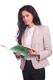 Donna di affari che tiene un archivio Immagini Stock
