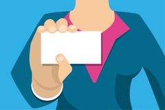 Donna di affari che tiene un biglietto da visita bianco illustrazione vettoriale