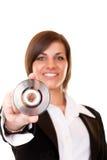Donna di affari che tiene un disco Immagini Stock Libere da Diritti