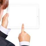 Donna di affari che tiene un pc del touchpad Fotografia Stock