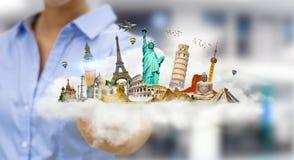 Donna di affari che tocca una nuvola in pieno dei monumenti famosi con lei Immagine Stock