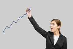 Donna di affari che traccia un grafico Fotografia Stock Libera da Diritti