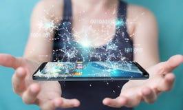 Donna di affari che usando codice binario digitale sul rende del telefono cellulare 3D Fotografia Stock Libera da Diritti