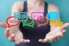 Donna di affari che usando conversazione variopinta digitale i della rappresentazione 3D Fotografie Stock Libere da Diritti