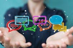 Donna di affari che usando conversazione variopinta digitale i della rappresentazione 3D illustrazione di stock