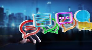 Donna di affari che usando conversazione variopinta digitale i della rappresentazione 3D Fotografia Stock