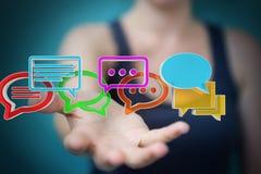 Donna di affari che usando conversazione variopinta digitale i della rappresentazione 3D Immagini Stock Libere da Diritti