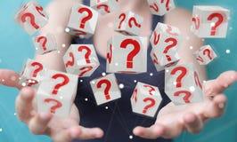 Donna di affari che usando i cubi con i punti interrogativi della rappresentazione 3D Immagine Stock