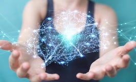 Donna di affari che usando il rende digitale dell'interfaccia 3D del cervello umano dei raggi x Fotografia Stock Libera da Diritti