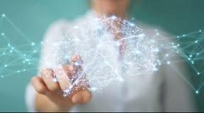 Donna di affari che usando il rende digitale dell'interfaccia 3D del cervello umano dei raggi x Fotografie Stock