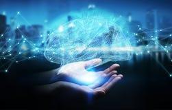 Donna di affari che usando il rende digitale dell'interfaccia 3D del cervello umano dei raggi x Fotografia Stock