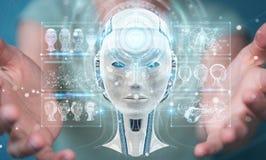 Donna di affari che usando l'interfaccia digitale 3D di intelligenza artificiale Immagine Stock Libera da Diritti