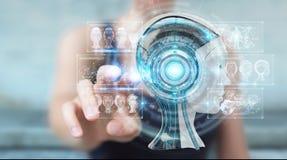Donna di affari che usando l'interfaccia digitale 3D di intelligenza artificiale Immagini Stock Libere da Diritti
